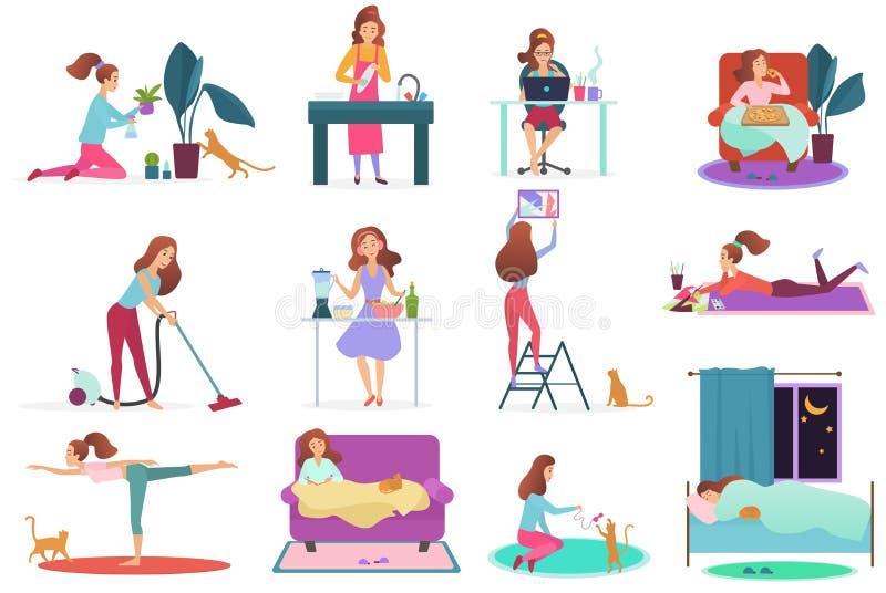 De jonge geplaatste activiteiten van het vrouwenhuis Meisje het water geven installaties, wassende schotels, die met laptop, het  royalty-vrije illustratie