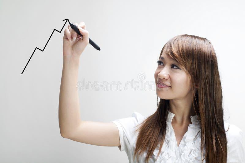 De jonge grafiek van de vrouwentekening royalty-vrije stock foto
