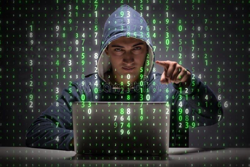 De jonge hakker in gegevensbeveiligingconcept royalty-vrije stock afbeelding