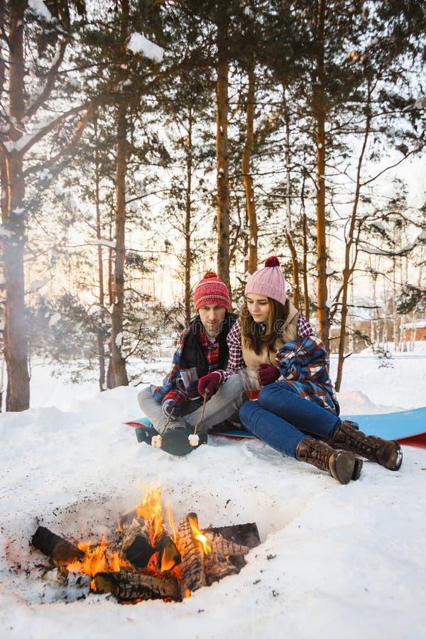 De jonge heemst van het paargebraden gerecht op een brand in de winter in een bos onder een deken royalty-vrije stock foto
