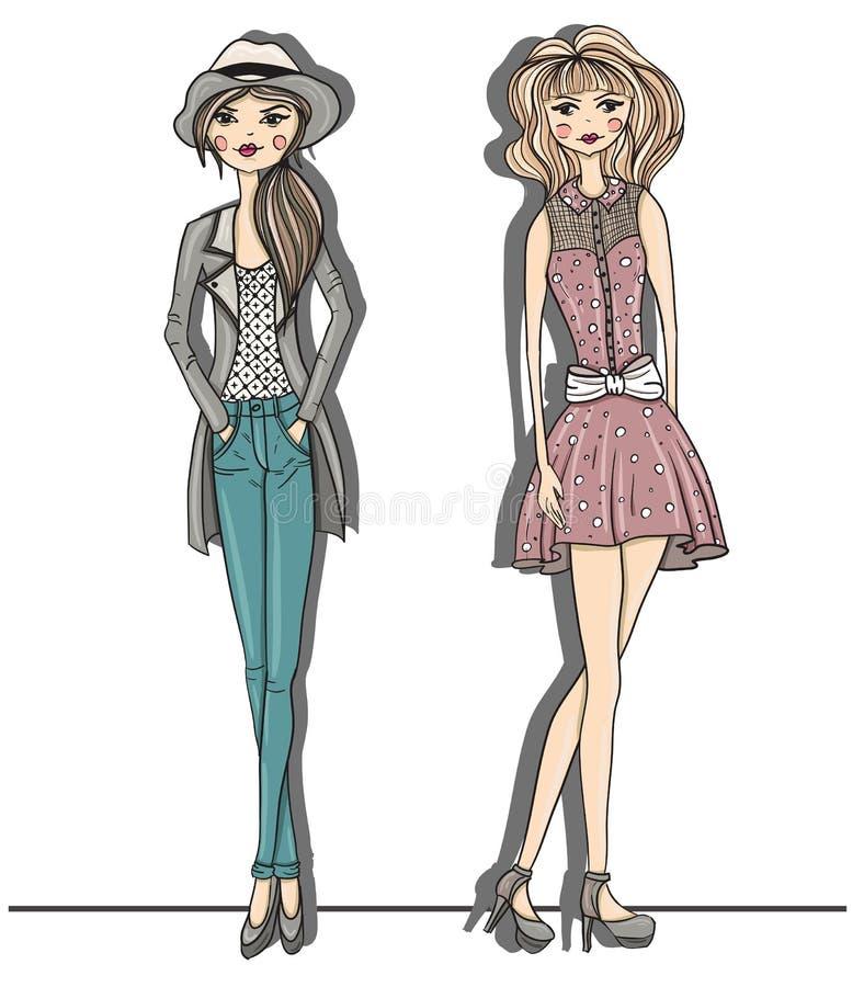 De jonge illustratie van maniermeisjes. Vector illustrat royalty-vrije illustratie