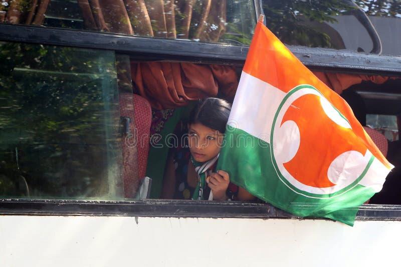 De jonge Indische verdediger van de Congrespartij stock fotografie