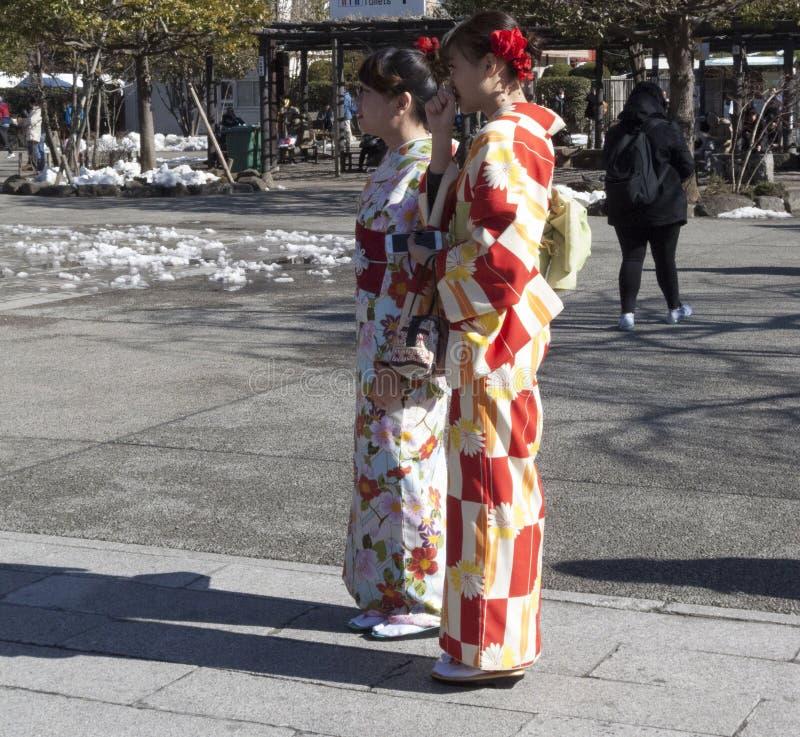 De jonge Japanse vrouwen kleedden zich in Kimono's lopend op straat met sneeuw op achtergrond stock afbeeldingen
