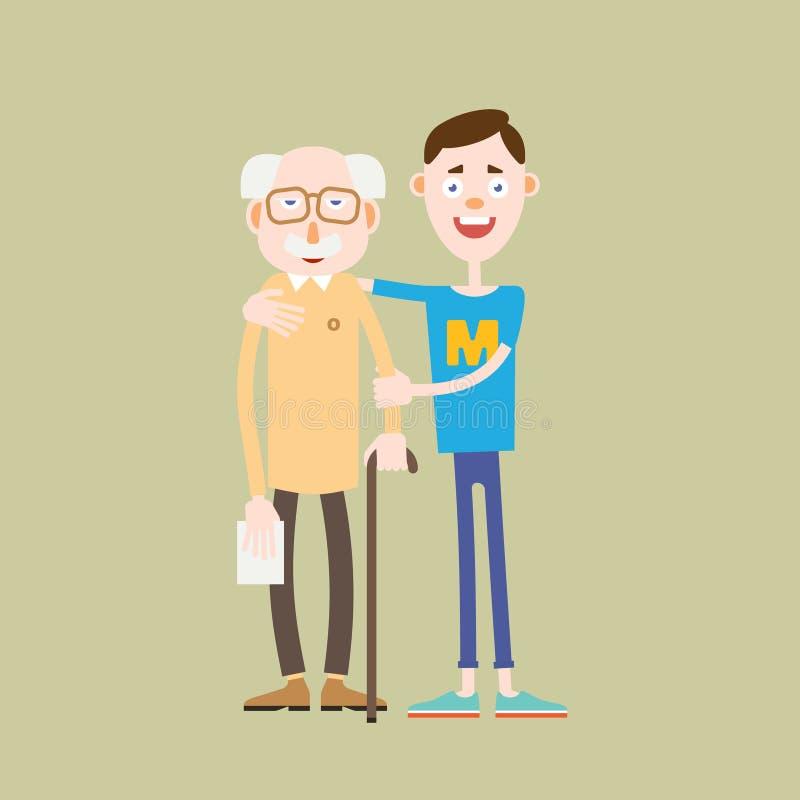 De jonge jongen helpt een oude mens royalty-vrije illustratie