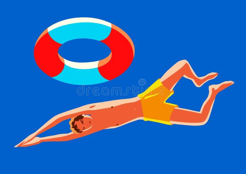 De jonge jongen met reddingsboei zwemt De heldere vectorillustratie van de de zomervakantie stock illustratie