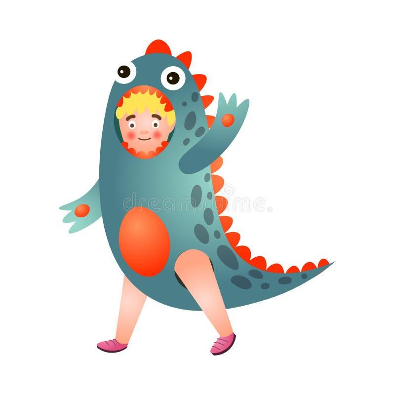 De jonge jongen van het blondehaar in het rode blauwe kostuum van de kleurendinosaurus royalty-vrije illustratie