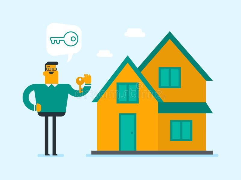 De jonge Kaukasische witte sleutel van de huiseigenaarholding stock illustratie