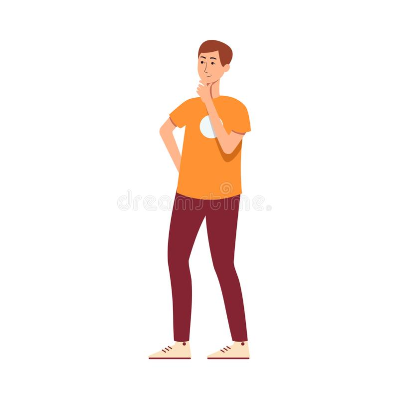 De jonge kerel of de mens denken en vinden een oplossings vlakke vectorillustratie geïsoleerd vector illustratie