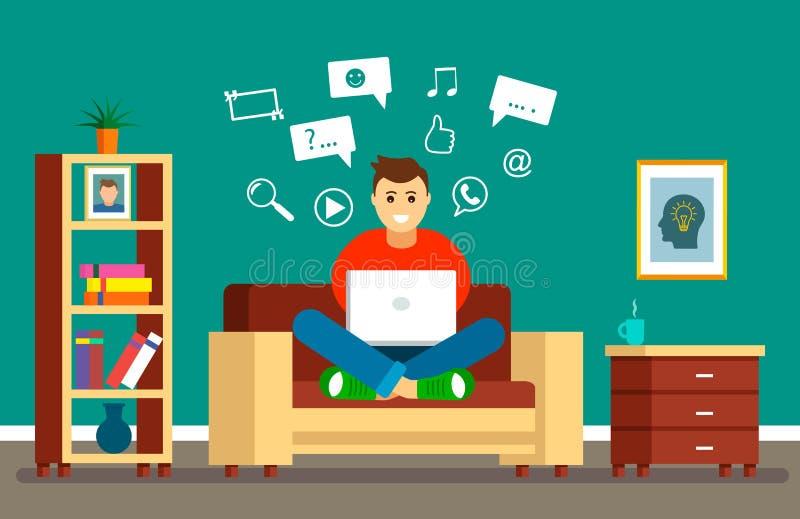 De jonge kerel zit op de laag met laptop op Internet en sociale netwerken op zoek naar informatie Het concept modern stock illustratie