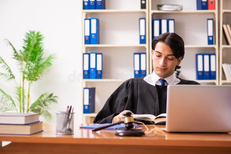 De jonge knappe rechter die voor het gerecht werken stock afbeelding