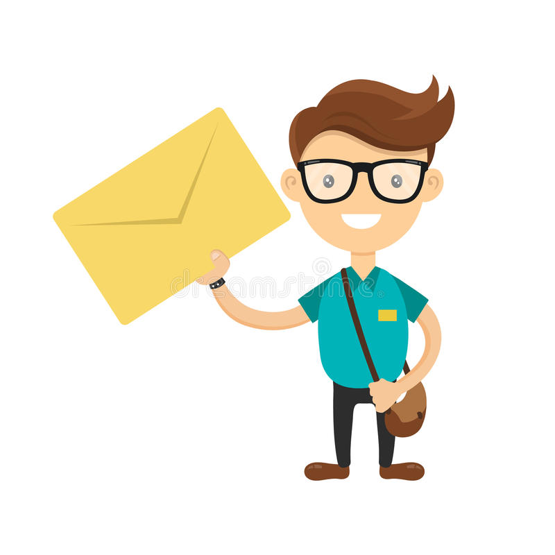 De jonge koerier of de brievenbesteller leverde de brief U hebt een brievenconcept Vector vlak beeldverhaalkarakter royalty-vrije illustratie