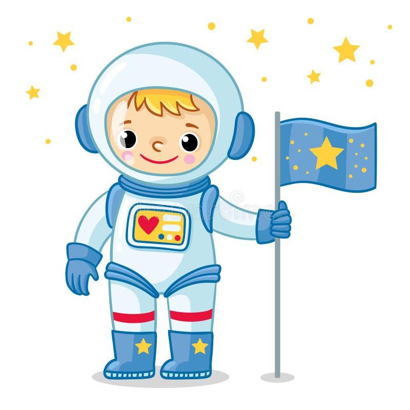 De jonge kosmonaut in een spacesuit bevindt zich op de planeet en houdt een vlag in zijn hand vector illustratie
