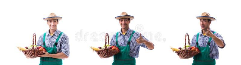 De jonge landbouwer die op de witte achtergrond wordt ge?soleerd stock afbeeldingen