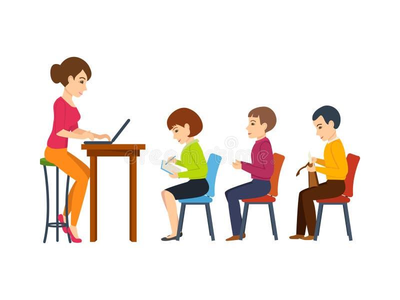 De jonge leraar, houdt lezing onder studenten huidig in het publiek vector illustratie