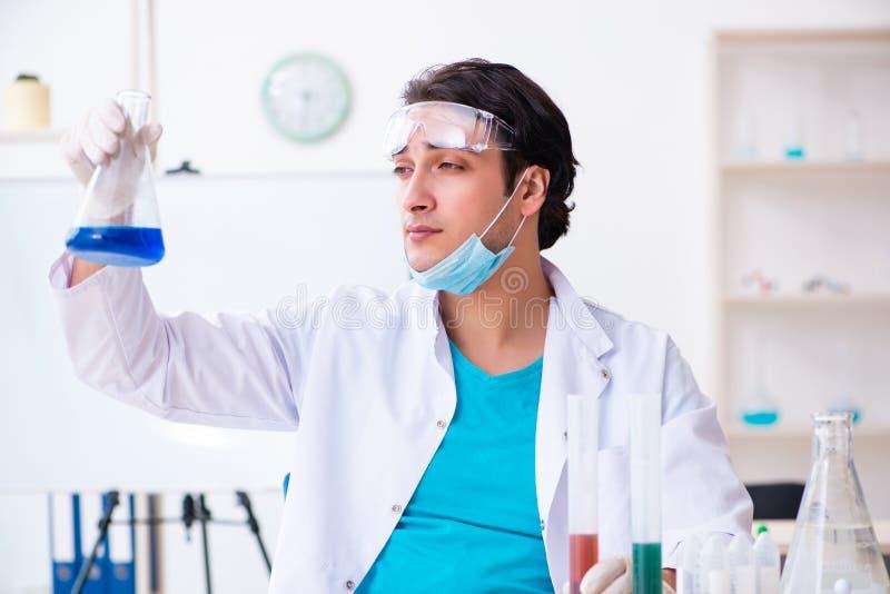 De jonge mannelijke chemicus die in het laboratorium werken royalty-vrije stock afbeeldingen