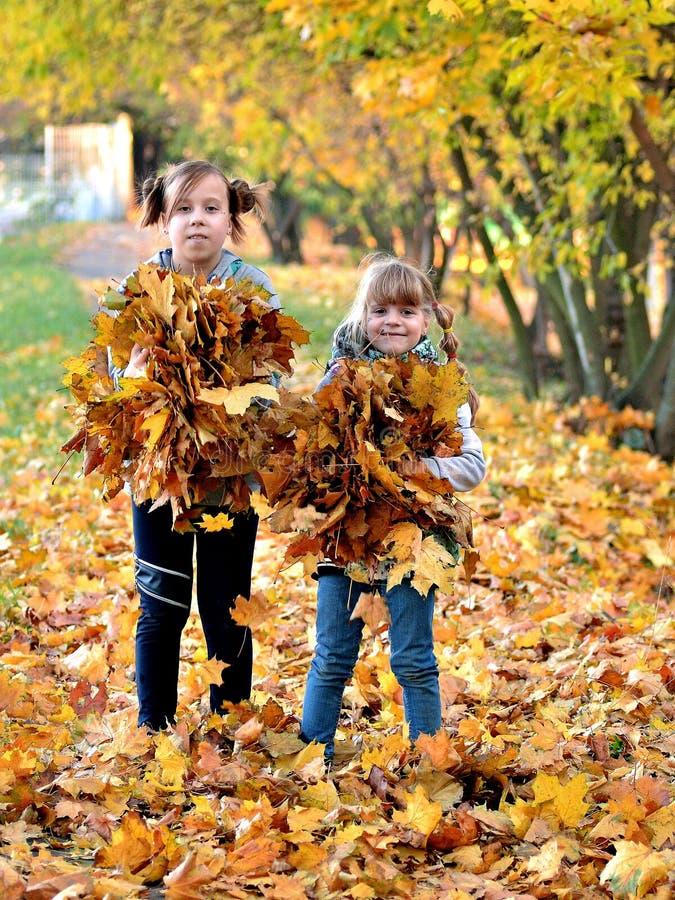 De jonge meisjes spelen in openlucht in het de herfstseizoen stock fotografie