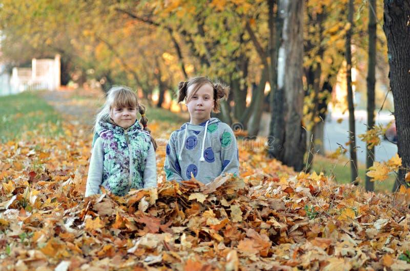 De jonge meisjes spelen in openlucht in het de herfstseizoen royalty-vrije stock afbeeldingen