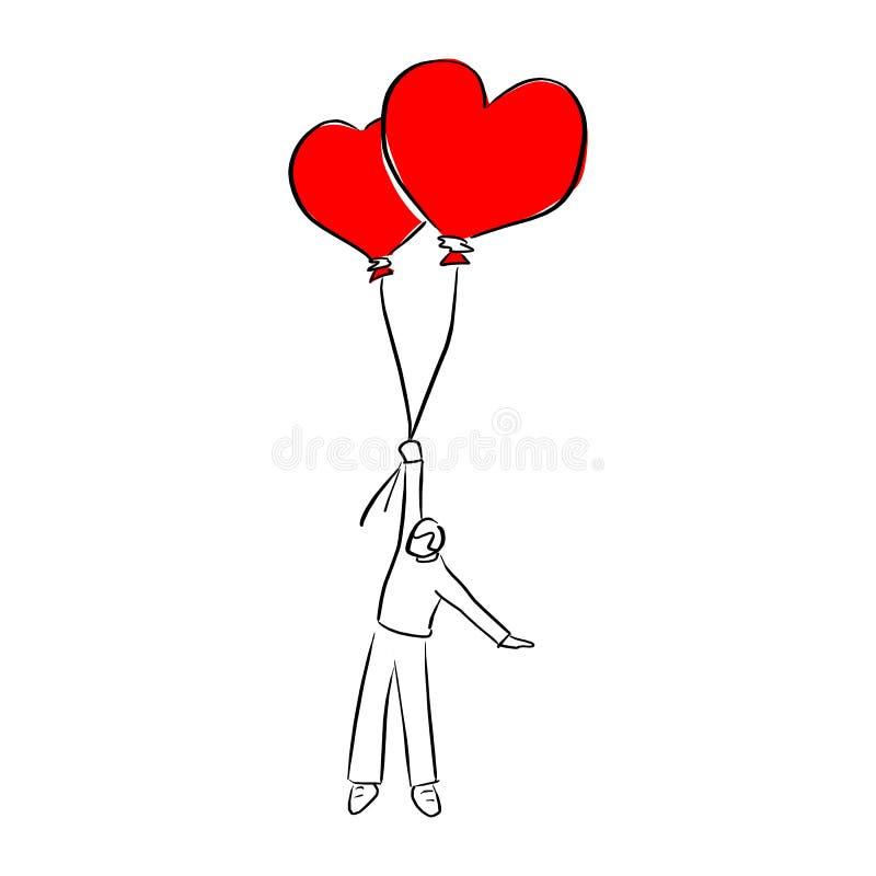 De jonge mens die twee ballons van de hartvorm voor van de de dag vectorillustratie van de valentijnskaart de schetskrabbel houde royalty-vrije illustratie
