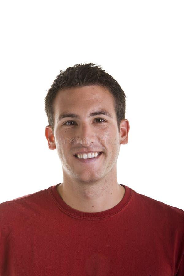 De Jonge Mens die van Nice in Rood Overhemd bij Camera glimlacht royalty-vrije stock foto's