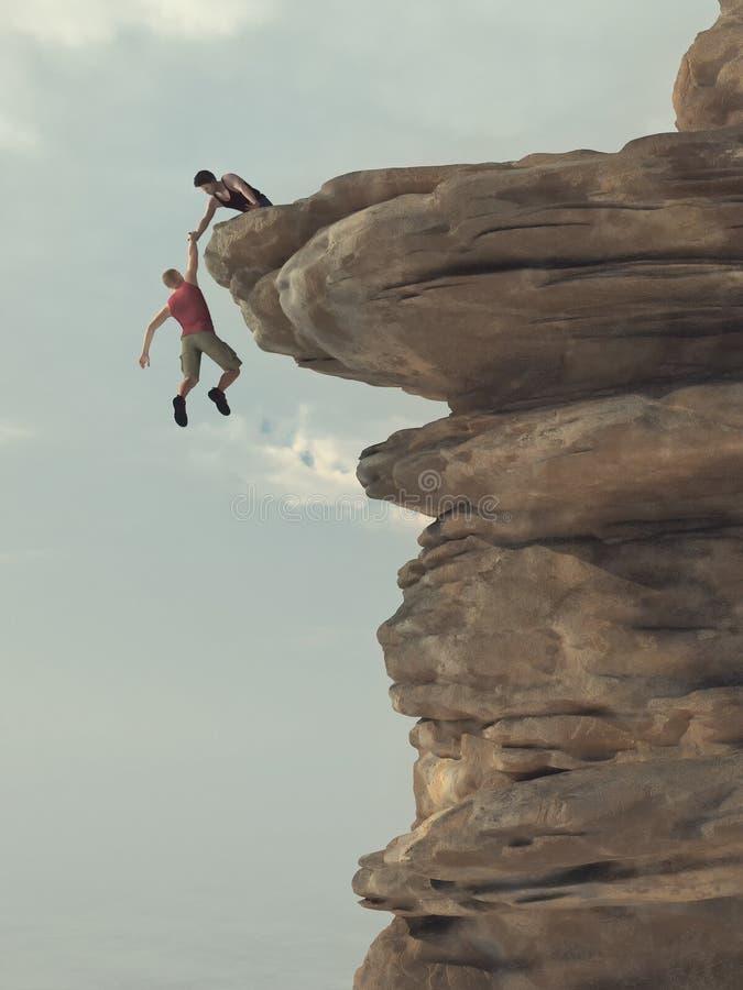 De jonge mens houdt een hand van een klimmer stand stock illustratie