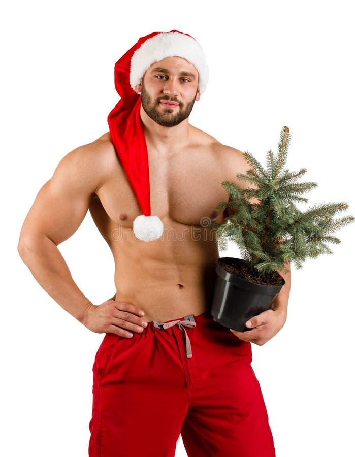 De jonge mens kleedde zich als Santa Claus met de boom van de Kerstmispot in zijn hand en rode die hoed, over wit wordt geïsoleer royalty-vrije stock fotografie