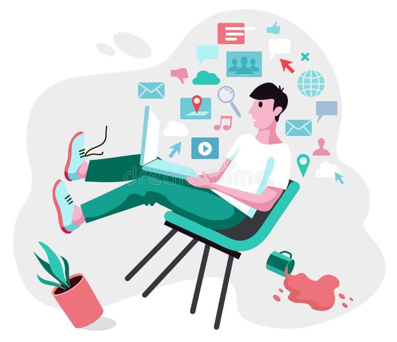 De jonge mens valt van een stoel onder de druk van informatie van laptop royalty-vrije illustratie