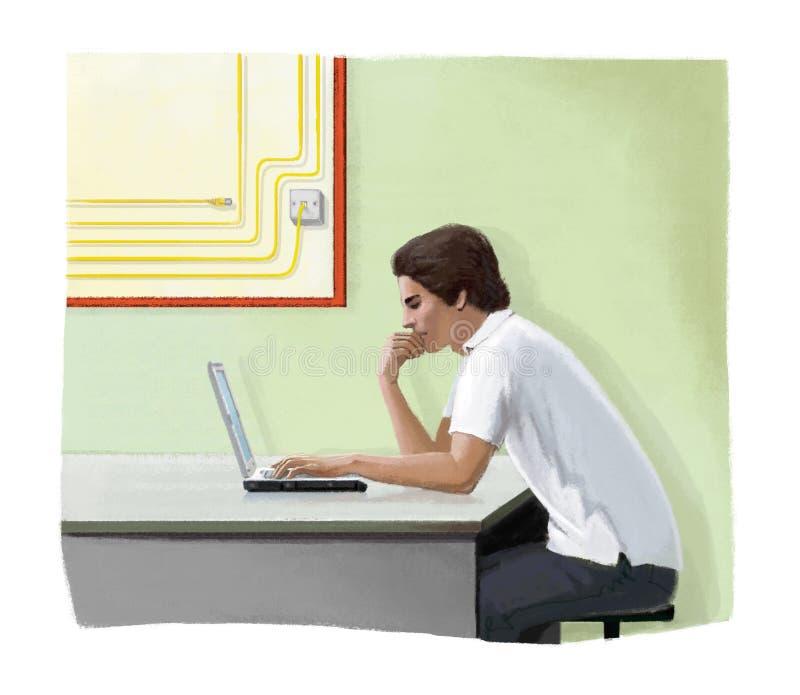 De jonge mensenwerken zorgvuldig bij laptop Systeembeheerder Digitale illustratie stock illustratie
