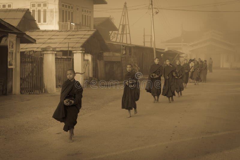 De jonge monniken krijgen voedseldienstenaanbod in vroege ochtend stock afbeelding