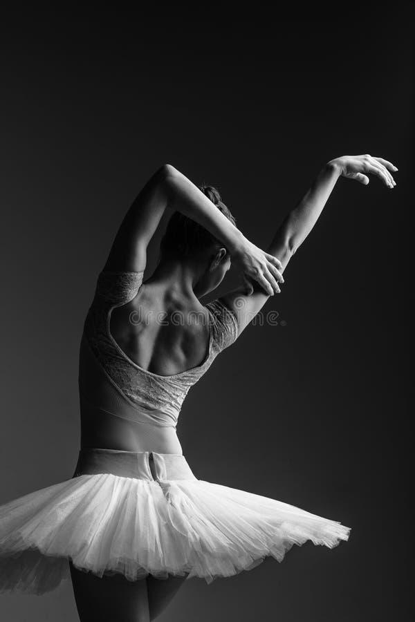 De jonge mooie ballerina stelt in studio stock foto's