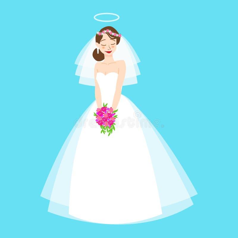 De jonge mooie bruid is in een elegante huwelijkskleding Vector illustratie voor uw zoet water design Uitnodiging, groetkaart stock illustratie
