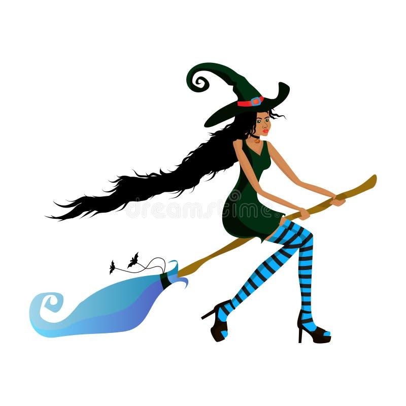 De jonge mooie donker-gevilde heks vliegt op een bezem voor een partij of een verkoop Donker-gevild meisje in een heksenkostuum v stock illustratie