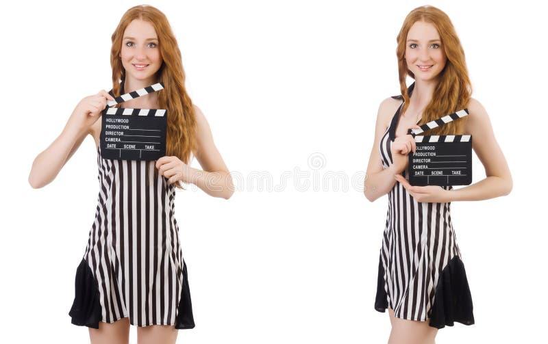 De jonge mooie klep-raad van de vrouwenholding stock afbeeldingen