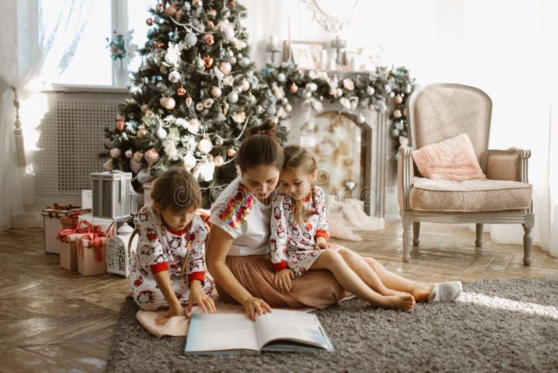 De jonge mooie moeder met twee kleine dochters zit op de karper stock foto's