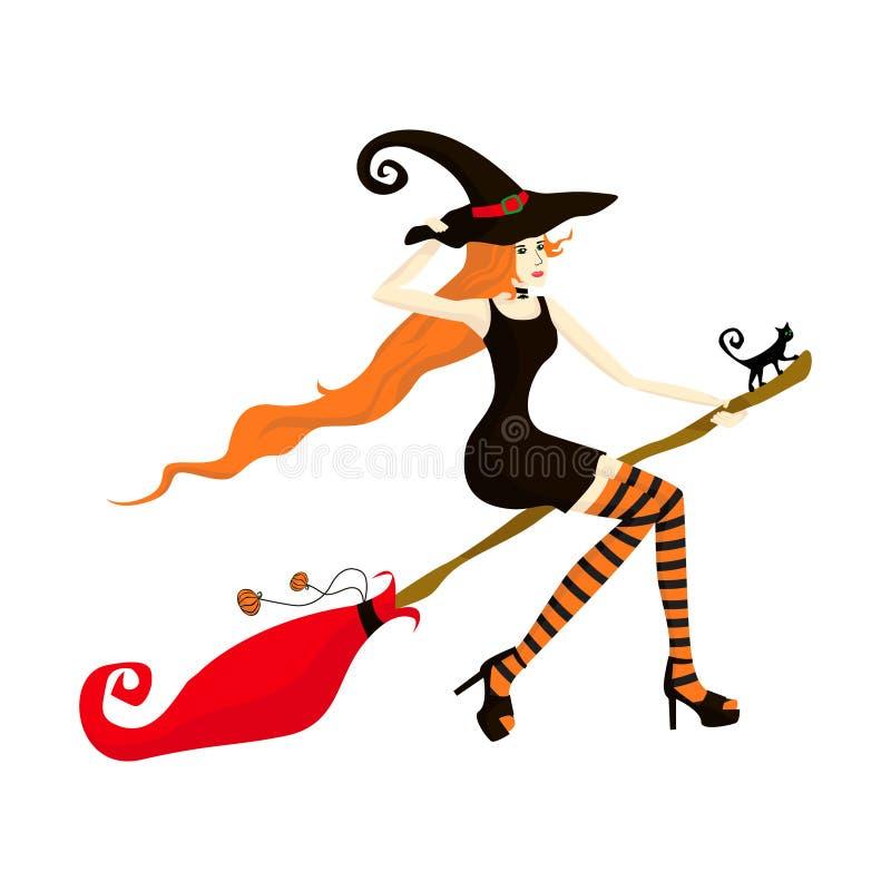 De jonge mooie roodharige heks vliegt op een bezem bij een partij of een verkoop Meisje in een korte zwarte kleding met een hekse royalty-vrije illustratie
