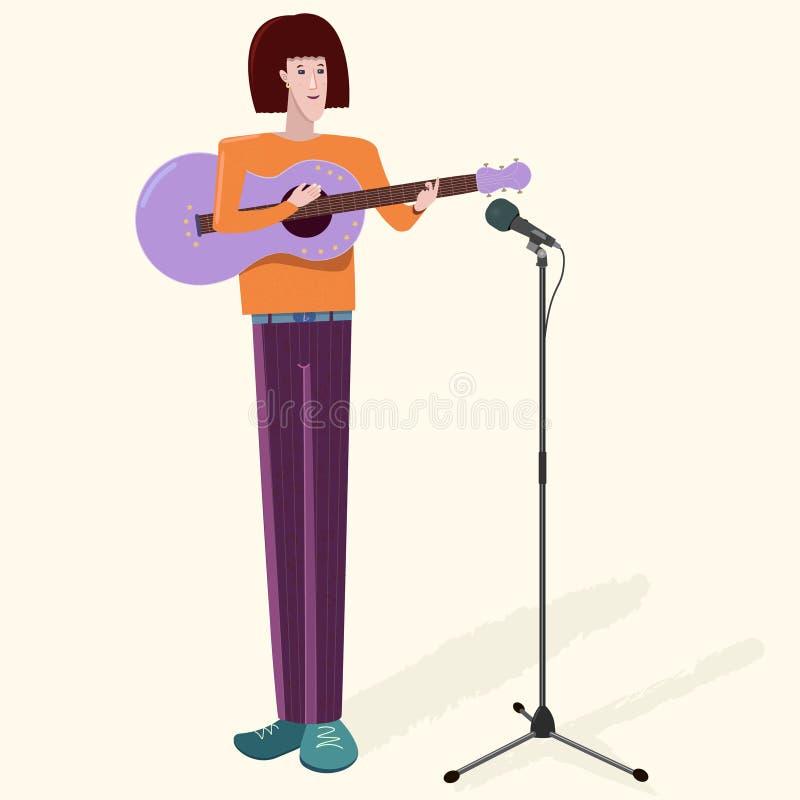 De jonge musicus van het mensenkarakter met gitaar en microfoon Vlakke vectorillustratie stock illustratie