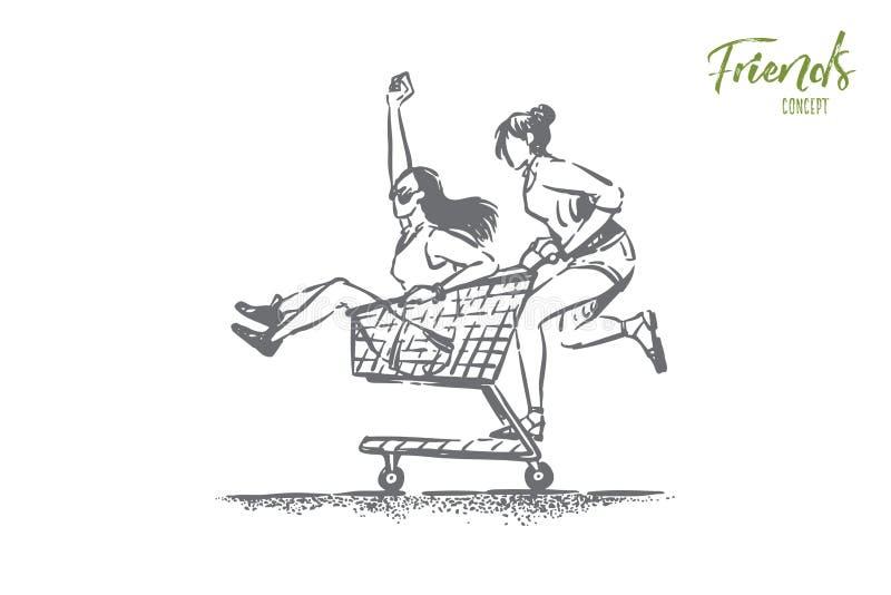 De jonge onbezorgde meisjes die pret hebben, gelukkige vrienden in de zomerkleren berijden in winkelkar, karretje, vrouwelijke vr royalty-vrije illustratie