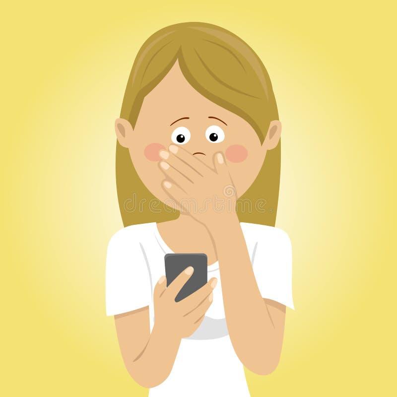 De jonge ongerust gemaakte vrouw die mobiele telefoon houden ontving slecht bericht die mond behandelen met haar hand vector illustratie