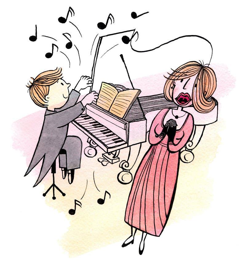 De jonge pianist en een zingende vrouw vector illustratie