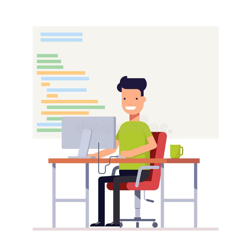 De jonge programmeur schrijft code voor een computer Het glimlachen mensenzitting bij bureau Werkplaatsspecialist Vector, illustr royalty-vrije illustratie