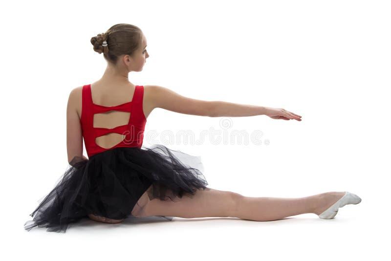 De jonge rug van de ballerinazitting royalty-vrije stock afbeeldingen