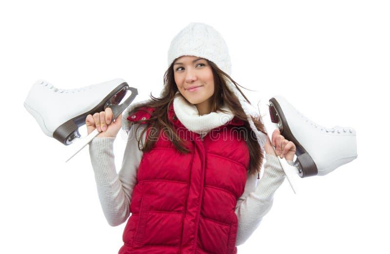 De jonge schaatsen van de vrouwenholding voor de winterijs het schaatsen sport royalty-vrije stock foto's