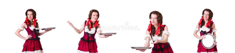 De jonge serveerster met dienblad op wit stock afbeelding