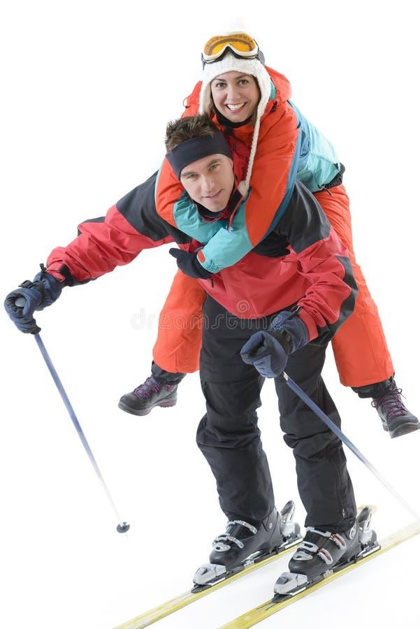 De jonge Ski van Paarenjoing stock fotografie