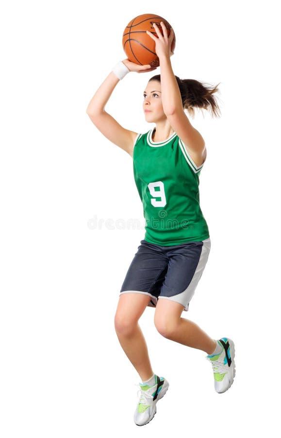 De jonge speler van het meisjesbasketbal royalty-vrije stock foto