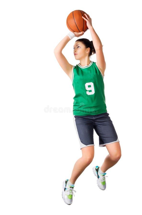 De jonge speler van het meisjesbasketbal royalty-vrije stock afbeeldingen