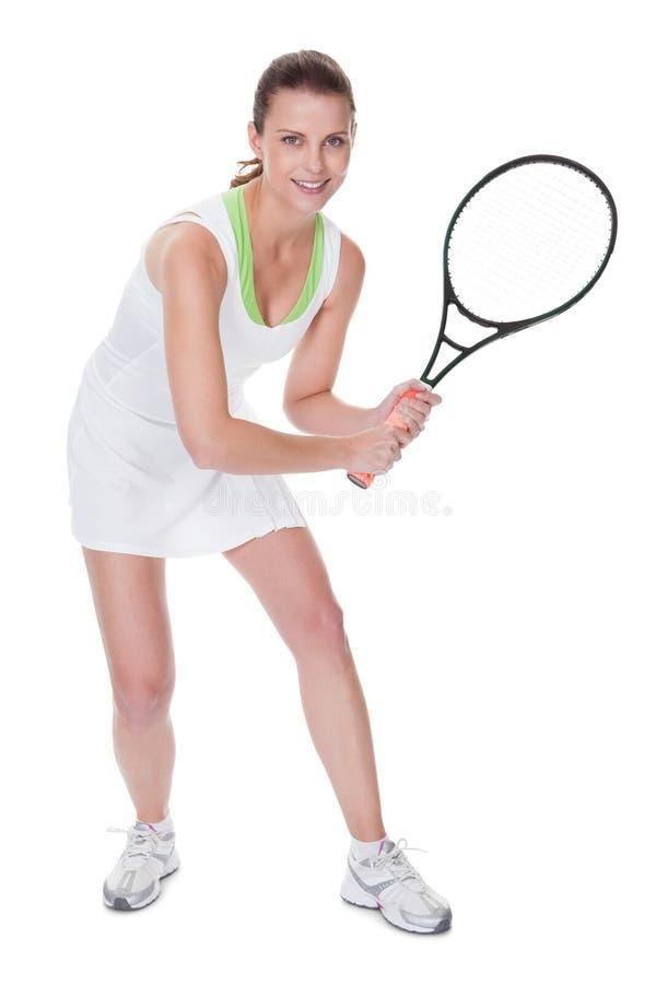 De jonge speler van het vrouwentennis stock foto