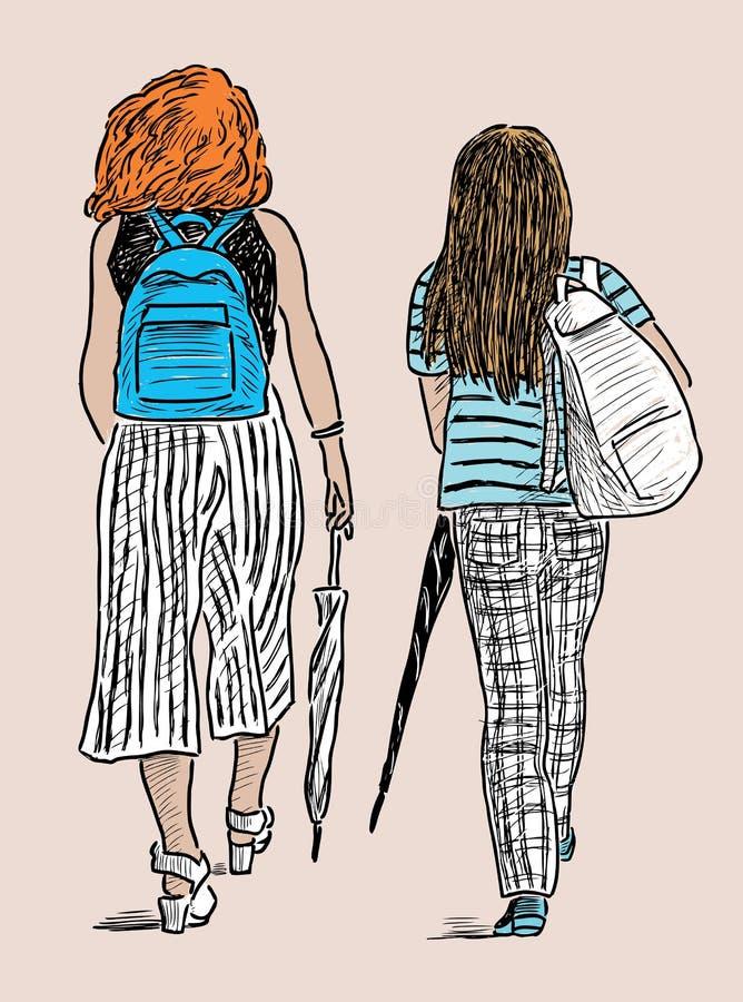 De jonge stadbewoonsters gaan op een wandeling stock illustratie