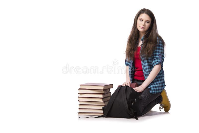 De jonge student die voor schoolexamens voorbereidingen treffen stock afbeeldingen