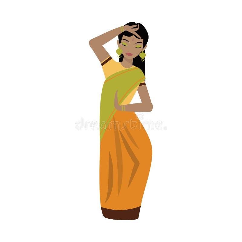 De jonge traditionele Indische illustratie van het vrouwen vectorkarakter royalty-vrije illustratie