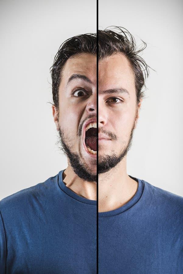 De jonge uitdrukking van het modieuze mensen dubbele gezicht stock afbeeldingen